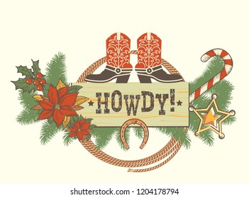 Christmas decoration with traditonal American boots for winter western background. Vector illustration