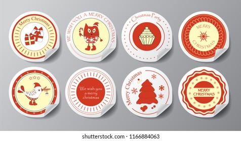 christmas decoration vector design elements. labels and banner