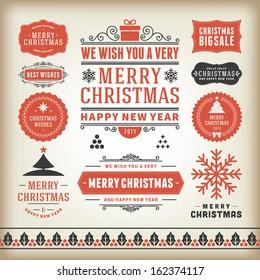 Christmas decoration vector design elements collection. Typographic elements, vintage labels, frames, ribbons, set. Flourishes calligraphic.