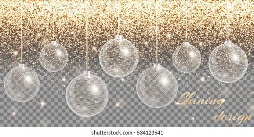 Christmas decoration vector. New year celebration. Bokeh lights. Golden background. Winter wonderland