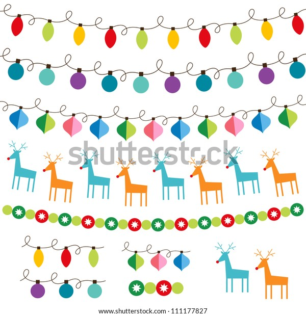 Christmas decoration vector set. Used pattern brushes included