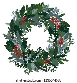 Christmas decoration wreath, evergreen branches, pine, berries, door wreath. Christmas wreath