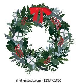 Christmas decoration wreath, evergreen branches, pine, berries, door wreath. Advent wreath