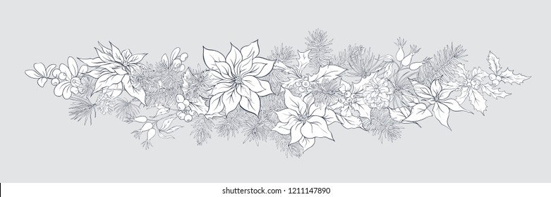 Christmas decoration, a wreath made of fir branches, puancetti, pine, holly, mistletoe, dog rose. Isolated on grey background. Graphic drawing, engraving style. vector illustration.