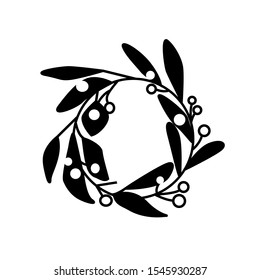 Christmas decoration wreath vector icon. Simple black and white illustration of a mistletoe.