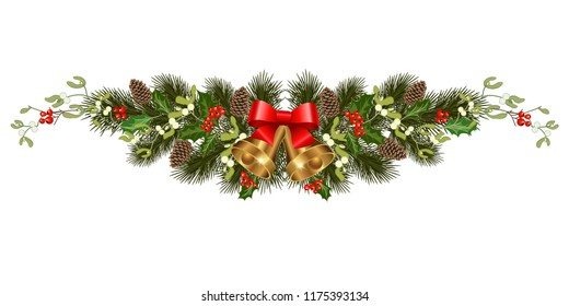 Christmas decorations with bells, fir tree, pine cones, mistletoe, holly, berries and decorative elements. Design element for Christmas decoration. Vector illustration