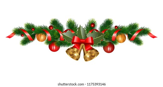 Christmas decorations with bells, fir tree, holly, berries and decorative elements. Design element for Christmas decoration. Vector illustration