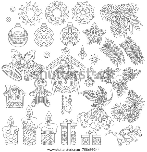 Christmas Decorations Coloring Page Vintage Retro Stock ...