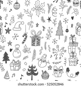 Christmas decorations doodle seamless vector pattern