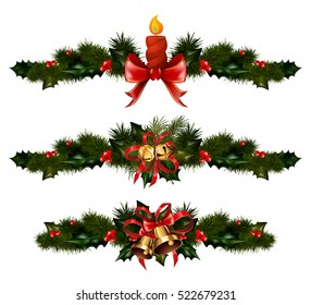 Christmas decorations with fir tree golden jingle bells and xmas decorative elements. Vector illustration