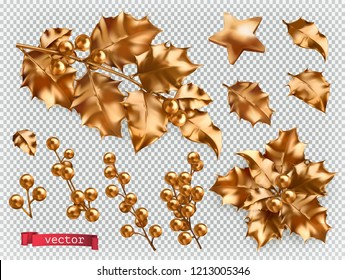 Christmas decorations. Golden holly 3d realistic vector icon set