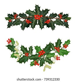 Christmas decorations with holly, berries, mistletoe and decorative elements. Design element for Christmas decoration. Vector illustration