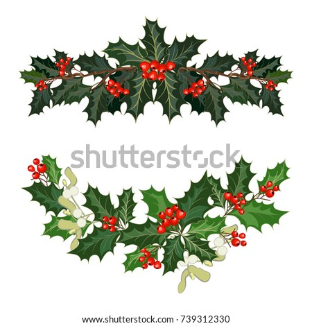 christmas decorations with holly berries mistletoe and decorative elements design element for christmas - Mistletoe Christmas Decoration