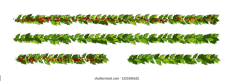 Christmas decorations with holly leaves and red berries.  Horizontal garlands Illustration for xmas and new year design.