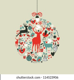 Christmas decorations icons on bauble shape postcard background. Vector illustration layered for easy manipulation and custom coloring.