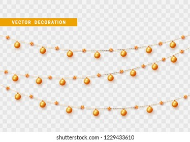 Christmas decorations isolated on transparent background. Gold garlands with balls and stars realistic set. Golden Xmas decor. Festive design element