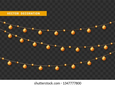 Christmas decorations, isolated on transparent background. Golden garlands with balls realistic set. Gold Xmas decor. Festive design element