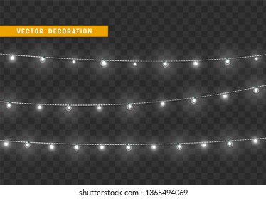 Christmas decorations, isolated on transparent background. White light garlands realistic set. Silver Xmas decor. Festive design element