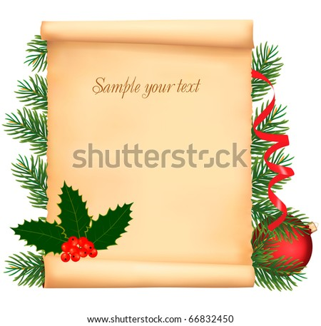 Christmas Decorations On Old Paper Vector Stock Vector