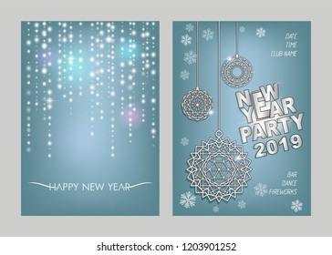 Christmas decorations on winter background. Invitational flyer for the New Year's dance party 2019. Luminescent glow, snowflakes, stars,  shine garlands and christmas balls.