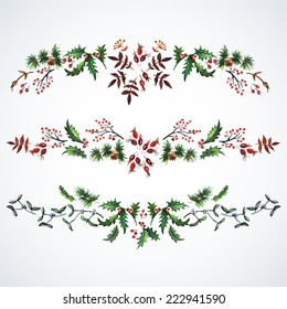 Christmas decorations from plants.  Watercolor. Christmas decor. Ideal for design Christmas gifts and scrapbooking.