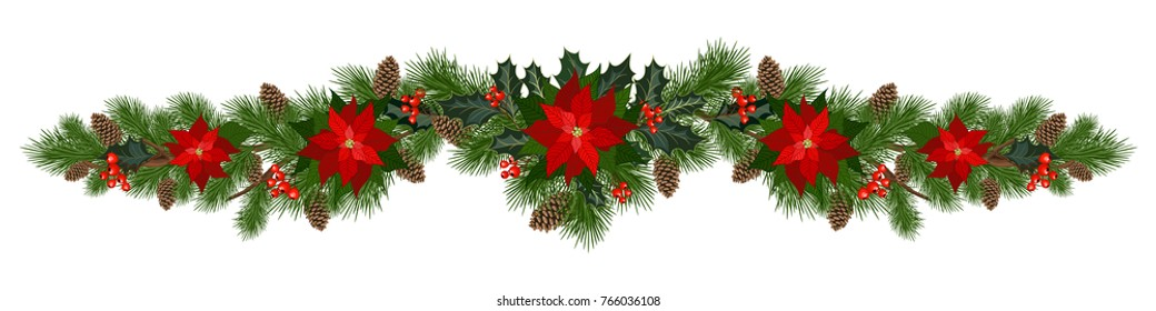 Christmas decorations with poinsettia, fir tree, pine cones, holly, berries and decorative elements. Design element for Christmas decoration. Vector illustration