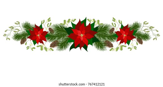christmas decorations with poinsettia fir tree pine cones mistletoe and decorative elements - Mistletoe Christmas Decoration