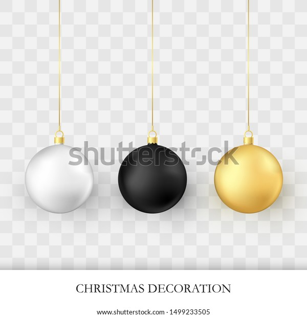Christmas decorations. Realistic glossy xmas and new year tree decorations. Golden white and black traditional holiday realistic Christmas balls. Vector illustration