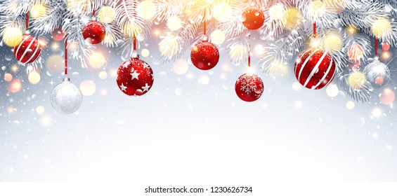 Christmas Decorations with Red Balls and Fir Branches. Snowy Sparkling Background. Vector illustration