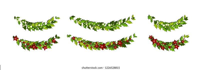 Christmas decorations with red poinsettia flowers and holly leaves and white berries. Horizontal arch garland Illustration for xmas and new year design.