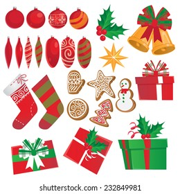 Christmas decorations set in vector