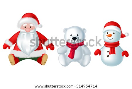 christmas decorations and toys isolated on white background vector illustration set winter holidays concept - Santa Claus Christmas Decorations