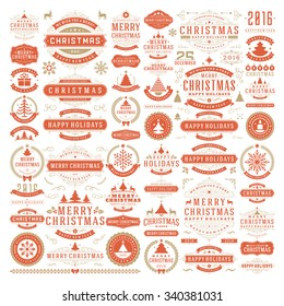 Christmas decorations vector design elements. Typographic messages, tree, deer, snowflake, vintage labels, frames ribbons, badges, logos, ornaments set. Flourishes calligraphic. Big Collection.