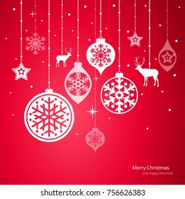 Christmas decorations. Vector set of snowflakes. New Year background