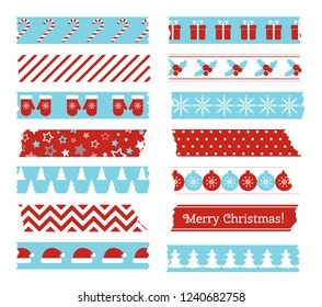 Christmas decorative adhesive type. Vector set of washi tape scotch with christmas pattern