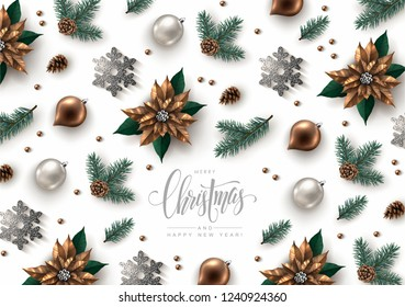 Christmas Decorative Background made of Pine Branches, Ornaments, Snowflakes, cookies and Calligraphic Inscription. Flat lay, top view.