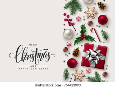Christmas Decorative Border made of Festive Elements with Calligraphic Seasons Wishes
