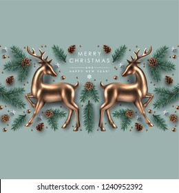 Christmas Decorative Border made of Pine Branches, Ornaments, Snowflakes, cookies and Gold Glass Deer. Flat lay, top view.