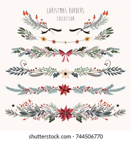 Christmas decorative borders with hand drawn floral branches