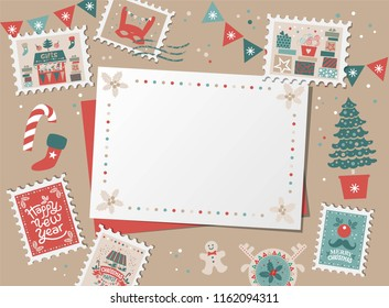 Christmas decorative card, border, frame with Christmas tree and festive decorations garland, sock, stamps. Christmas market and Happy New year sign. Christmas design for banner, card, invitation