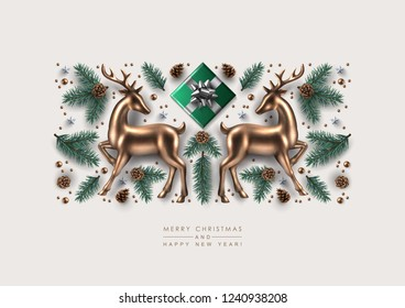Christmas Decorative Composition made of Pine Branches, Ornaments, Snowflakes, cookies and Gold Glass Deer. Flat lay, top view.