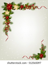 Christmas decorative corner with red Poinsettia flowers fir branches ribbons and decorative element.
