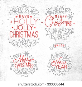 Christmas decorative elements for winter holidays in flat style, drawing with grey and red lines on dirty paper