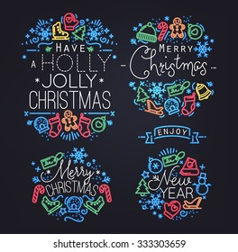Christmas decorative elements for winter holidays in flat and neon style,drawing by color lines on black background