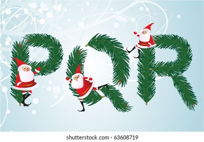 Christmas decorative fir-tree ABC with funny Santas. Letters P, Q, R. Vector.