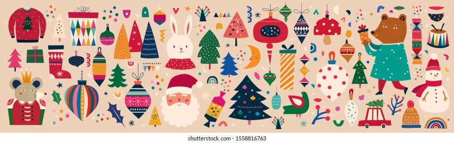 Christmas decorative huge collection with incredible Christmas elements. Christmas colorful decorative collection in vintage style with cute bunny, king mouse, Snowman and funny Santa Claus