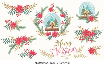 Christmas decorative illustration with snow globe, herbs, wreath and flowers. Christmas vector illustration.