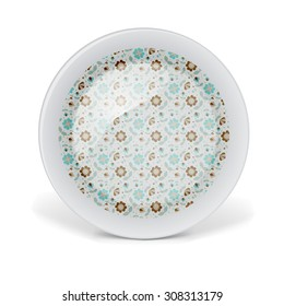Christmas decorative plate with floral art pattern. Vector illustration on white background