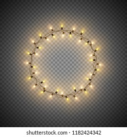 Christmas decorative realistic garland with shiny  glowing lights, round frame, isolated on transparent background, vector illustration