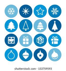 Christmas decorative symbols set. Flat vector seasonal icons for your design.